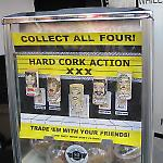 Vending machine display card promotes artistic corks.