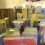 Pinball machines await assembly and placement at the National Pinball Museum.