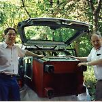My father and I prepare to slide the AMI G-80 jukebox into my Volkswagen Passat.