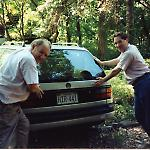 My father and I close the Passat's cargo door with the AMI G-80 jukebox inside.