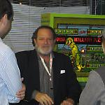 National Pinball Museum founder David Silverman greets visitors on opening day.