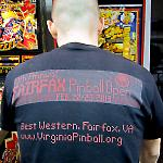 The tournamet T-shirt featured the Fairfax Pinball Open dot matrix display logo.