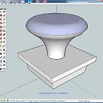 A 3D model of a leg leveler designed in SketchUp.