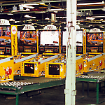 Williams Taxi pinball machines undergo test and burn-in before shipment.