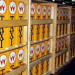 Crates of Taxi backboxes at the Williams pinball factory