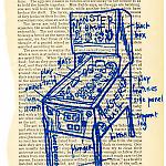 Diagram of Monster Bash pinball machine screen printed onto an old book page.