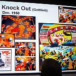 David Silverman's lecture slide shows Knock Out's playfield, backglass, and art